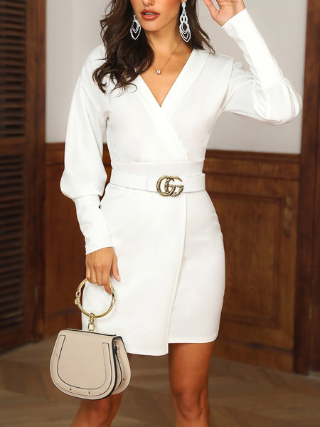 Leg-of-Mutton Sleeve Wrap Blazer Dress