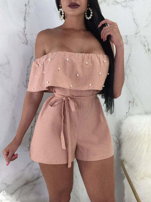 Beaded Embellished Ruffles Belted Bardot Playsuit - DadHats2ow6ix
