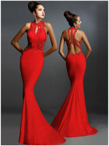 Asymmetric Lace Crochet Open Back Maxi Evening Dress - DadHats2ow6ix