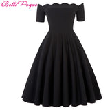 Belle Poque 2017 Women Dress Robe Vintage Off Shoulder Black Summer Dress Jurken 1950s 60s Retro Rockabilly Swing Party Dresses - DadHats2ow6ix