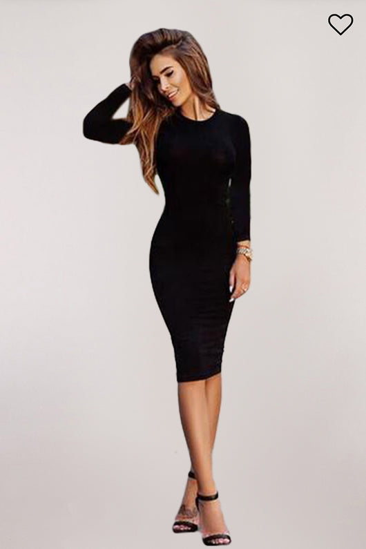 Autumn Knee-Length Midi Dress - DadHats2ow6ix