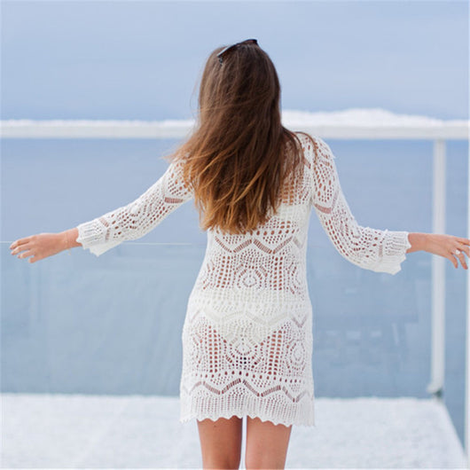 c1764a3a42725 Crochet Bikini cover up Sexy Knitted Beach Cover up Saida de Praia Swim  suit cover up