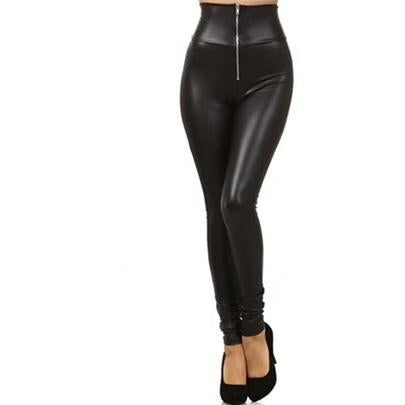 Autumn Women Leather Stretch Sexy Leggings Warm Ventilation Zipper Top Quality Legging Pants High Waisted Leggins 2017 Clothing - DadHats2ow6ix
