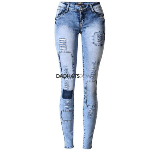 2017 Fashion Individual Bleached Patch Up Distressed Jeans For Women Hollow Out Patchwork Vintage Denim Ripped Jeans ZIH034 - DadHats2ow6ix