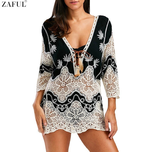 Plunge Crochet Lace Cover Up