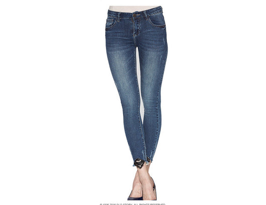 High waist jeans Skinny Fashion Casual Female Ripped Jeans Denim Lace - DadHats2ow6ix