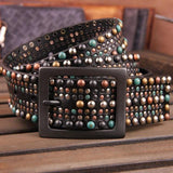 Genuine Leather Colorful Stud Rock Belts - DadHats2ow6ix