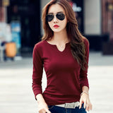 V-Neck Solid Striped Tops Casual Basic Lady Tees - DadHats2ow6ix