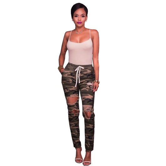 2017 Women Knee Hole Ripped Jeans Chic Camo Army Green Skinny Jeans Ladies Femme Stretch Camouflage Cropped Pencil Denim Pants - DadHats2ow6ix