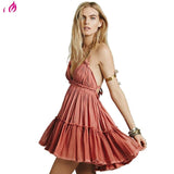 BellFlower 2018 Summer Bohemian Women Mini Dress  Backless Beach Dress Holiday Boho Strapless Sexy Ball Gown Hippie Chic Dress - DadHats2ow6ix