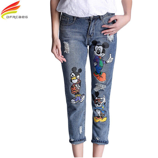 5XL 2018 Fashion High Waist Pencil Boyfriend Jeans Femme Print Cartoon Jeans Woman Denim Pants Plus Size Ripped Jeans For Women - DadHats2ow6ix
