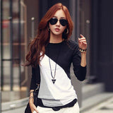 Ladies Casual T Shirt Cotton Contrast Tops - DadHats2ow6ix