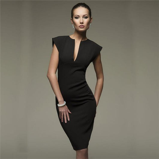 Sexy Pencil Fashion Women Elegant Solid Sleeveless Bodycon Sheath V-Neck - DadHats2ow6ix