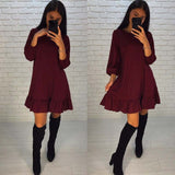 AISORIG 2018 Spring New Fashion Dress Women Casual O-neck three quarter Lantern Sleeve Hem Ruffles Loose Dresses Party Vestidos - DadHats2ow6ix