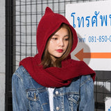 2018 Brand Design Women's Hooded Scarf Winter Wool Knitted Earflap Hats Snood Wraps Solid Crochet Scarves and Hat for Girl - DadHats2ow6ix