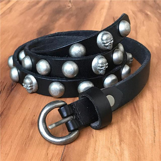 Genuine Leather Metal Skull Belt - DadHats2ow6ix