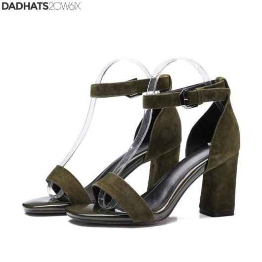 ASUMER black gray fashion summer new arrival ladies prom shoes buckle square heel women suede leather high heels sandals - DadHats2ow6ix