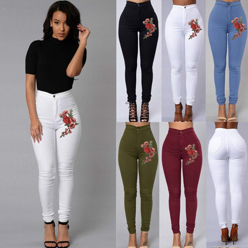 Embroidery Skinny Jeans - DadHats2ow6ix