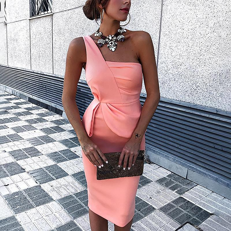 Solid Color One Shoulder Ruched Bodycon Dress - DadHats2ow6ix