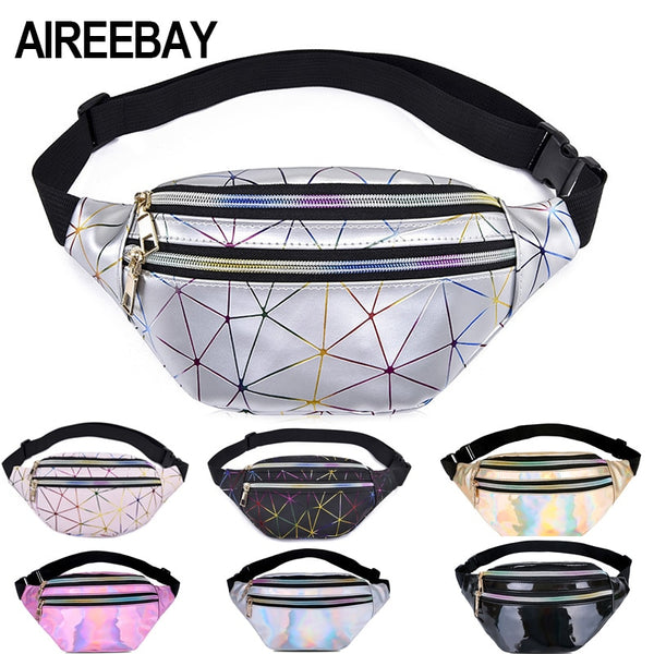 Holographic Waist Bags Women Pink Silver Fanny Pack - DadHats2ow6ix