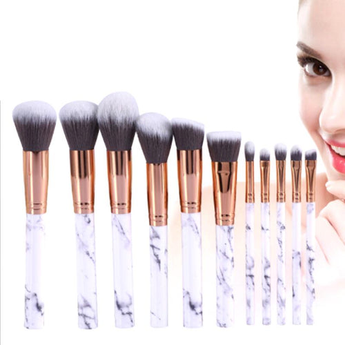 10Pcs Marble Makeup Brushes Foundation Eyeshadow Cosmetic Brush Set