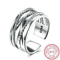 925 Sterling Silver Ring Open Ring Metallic Line Ring Women's Costume Jewelry - J.S Jewellers & Co