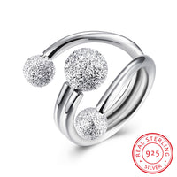 925 Sterling Silver Ring Rough Grinding Beads Opening Ring Costume Jewelry - J.S Jewellers & Co