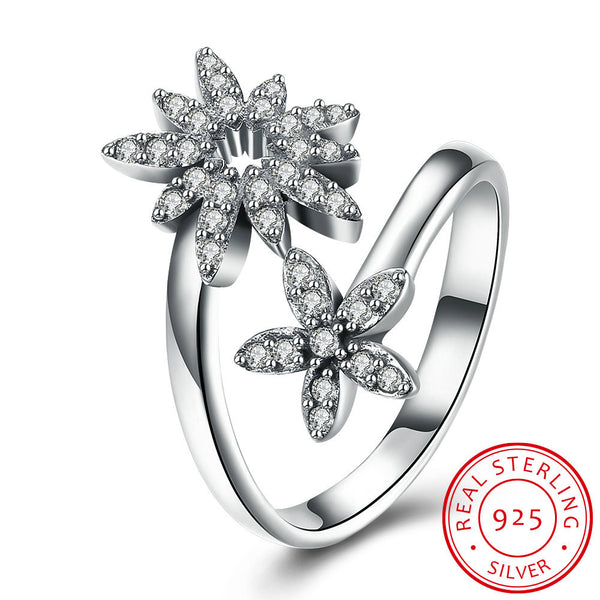925 Sterling Silver Ring Dual Sun flower Ring Diamond Ring Female Costume Jewellery - J.S Jewellers & Co