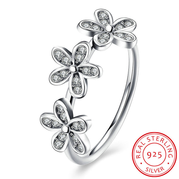 925 Sterling Silver Ring Triple Flower Indigo Diamond Ring Female Costume Jewelry - J.S Jewellers & Co
