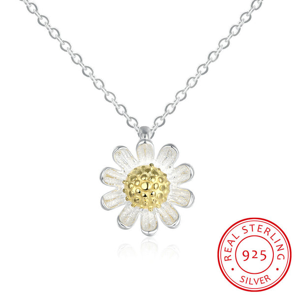 Sterling 925 Silver Beautiful Large Golden-Rayed Flower Necklace Pendant Costume Jewelry - J.S Jewellers & Co
