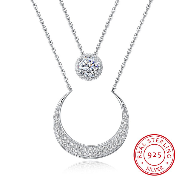 Sterling 925 Silver Necklace Bright Crescent Pendant Necklace Trendy Costume Jewelry - J.S Jewellers & Co