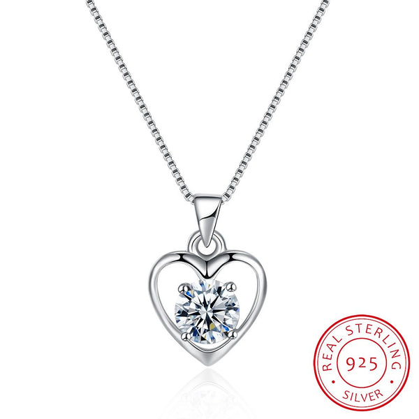 925 Sterling Silver Trendy Heart Style Design Platinum Pendant Necklace Costume Jewelry - J.S Jewellers & Co