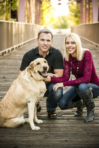 Shane, Tanya Vaughan and Dexter our three-legged dog