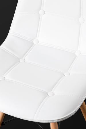 White Dining Chair leather seat