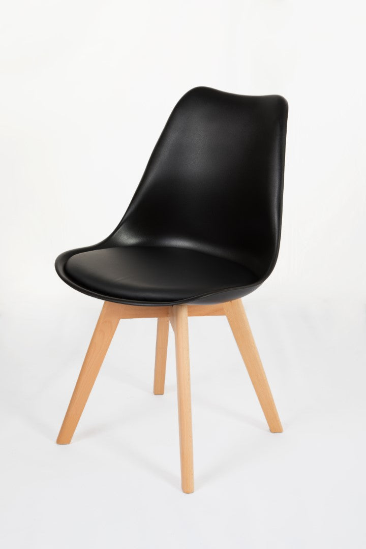Black dining room chair side view