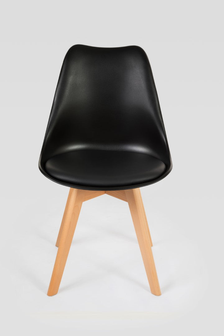 Black dining room chair front view