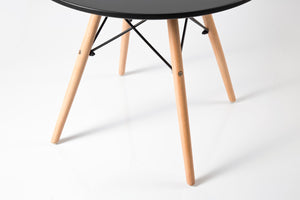 Eleko Black Round Table wooden legs
