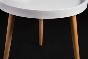 Lynt White Round Table with wooden legs