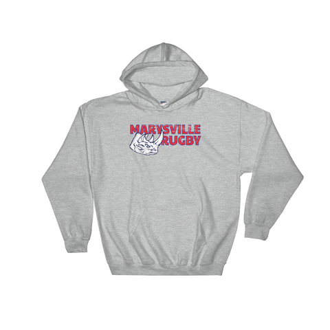 Marysville Rugby Grunge Hooded Sweatshirt - Saturday's A Rugby Day