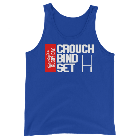 Crouch, Bind, Set Red Block Tank Top - Saturday's A Rugby Day