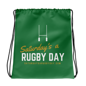 Green Saturday's a Rugby Day Drawstring bag - Saturday's A Rugby Day