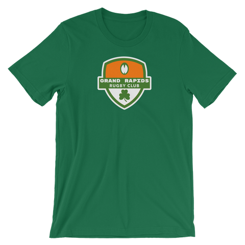 Grand Rapids Shamrock Crest Short-Sleeve Unisex T-Shirt - Saturday's A Rugby Day