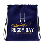 Navy Saturday's a Rugby Day Drawstring bag - Saturday's A Rugby Day