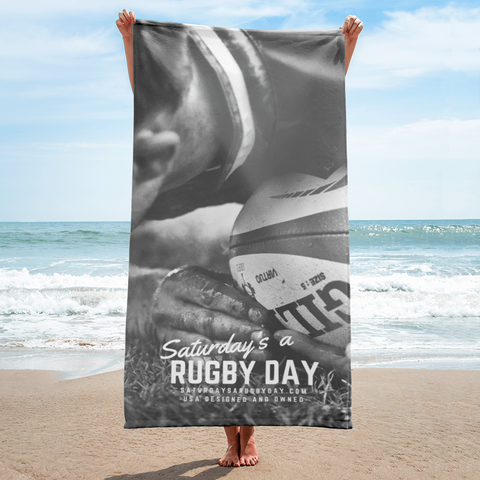 Grayscale Towel - Saturday's A Rugby Day