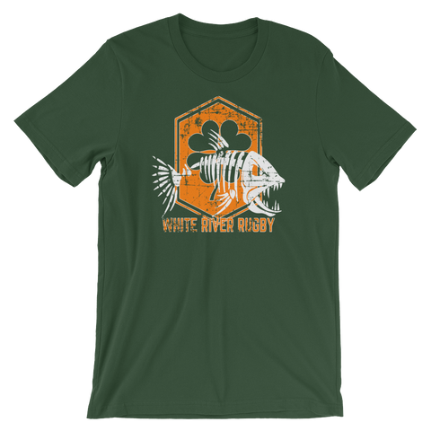 White River Shamrock Shield Short-Sleeve Unisex T-Shirt - Saturday's A Rugby Day