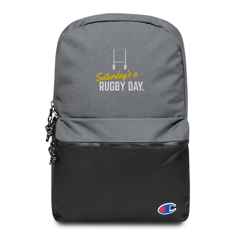 Saturday's a Rugby Day Embroidered Champion Backpack - Saturday's A Rugby Day