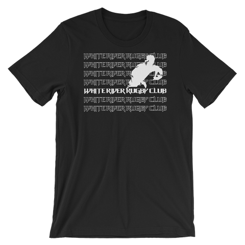 White River Repeat Short-Sleeve Unisex T-Shirt - Black - Saturday's A Rugby Day