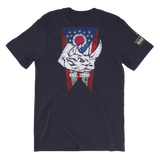 Rhino with Ohio Flag Short-Sleeve Unisex T-Shirt - Saturday's A Rugby Day