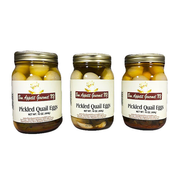 Spicy Pickled Quail Eggs 3 Pack Wt. 16 oz. each by Bon Appetit Gourmet NY