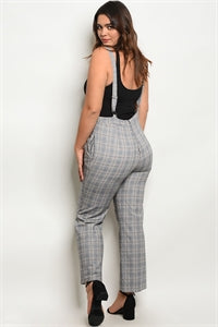 Grey Plaid Plus Size Overalls